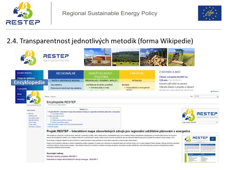 2.4. Transparentnost jednotlivých metodik (forma Wikipedie) Encyklopedie