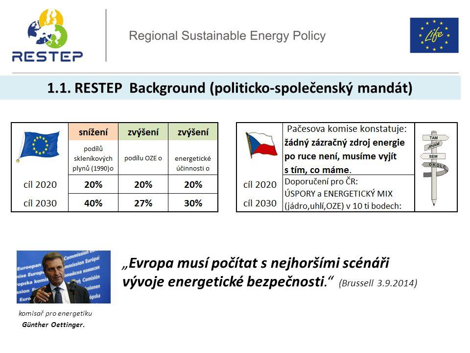 """1.1. RESTEP Background (politicko-společenský mandát) komisař pro energetiku Günther Oettinger. """"Evropa musí počítat s nejhoršími scénáři vývoje energ"""