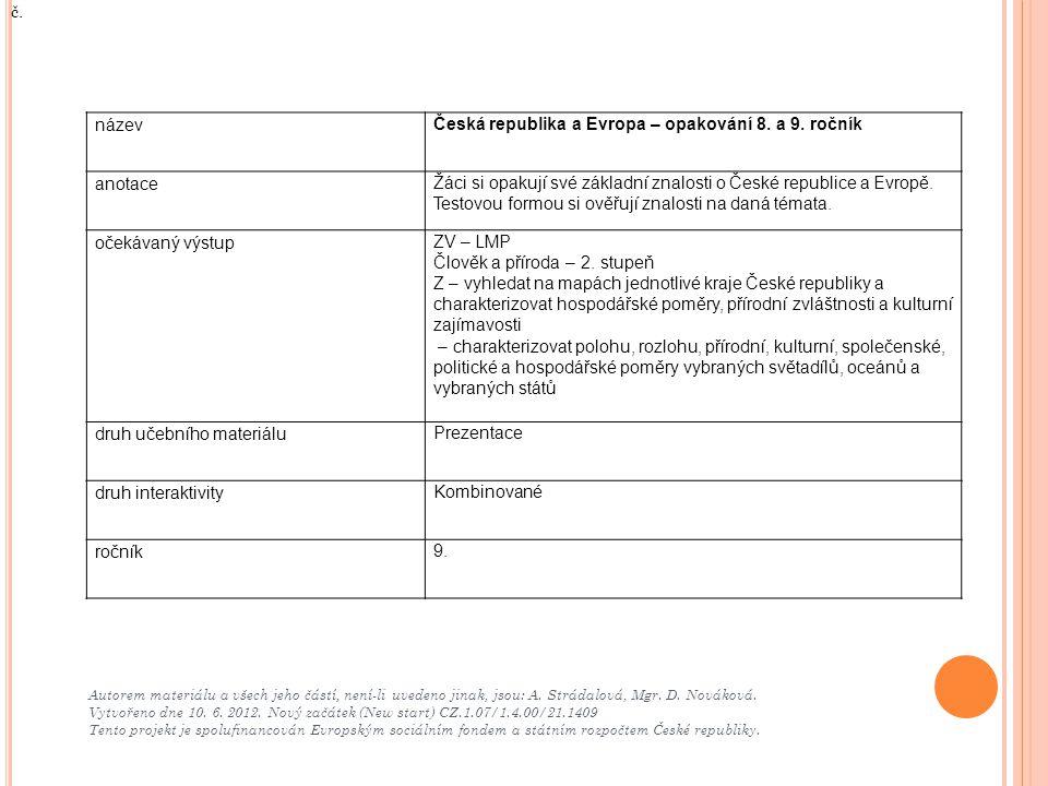 Autorem materiálu a všech jeho částí, není-li uvedeno jinak, jsou: A. Strádalová, Mgr. D. Nováková. Vytvořeno dne 10. 6. 2012. Nový začátek (New start