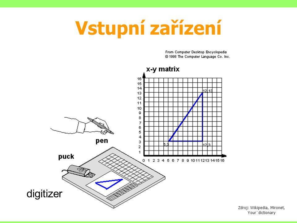 Vstupní zařízení Zdroj: Wikipedia, Mironet, Your¨dictionary digitizer