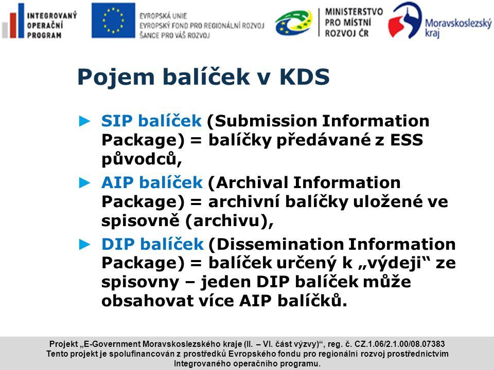www.i.cz Pojem balíček v KDS ► SIP balíček (Submission Information Package) = balíčky předávané z ESS původců, ► AIP balíček (Archival Information Pac