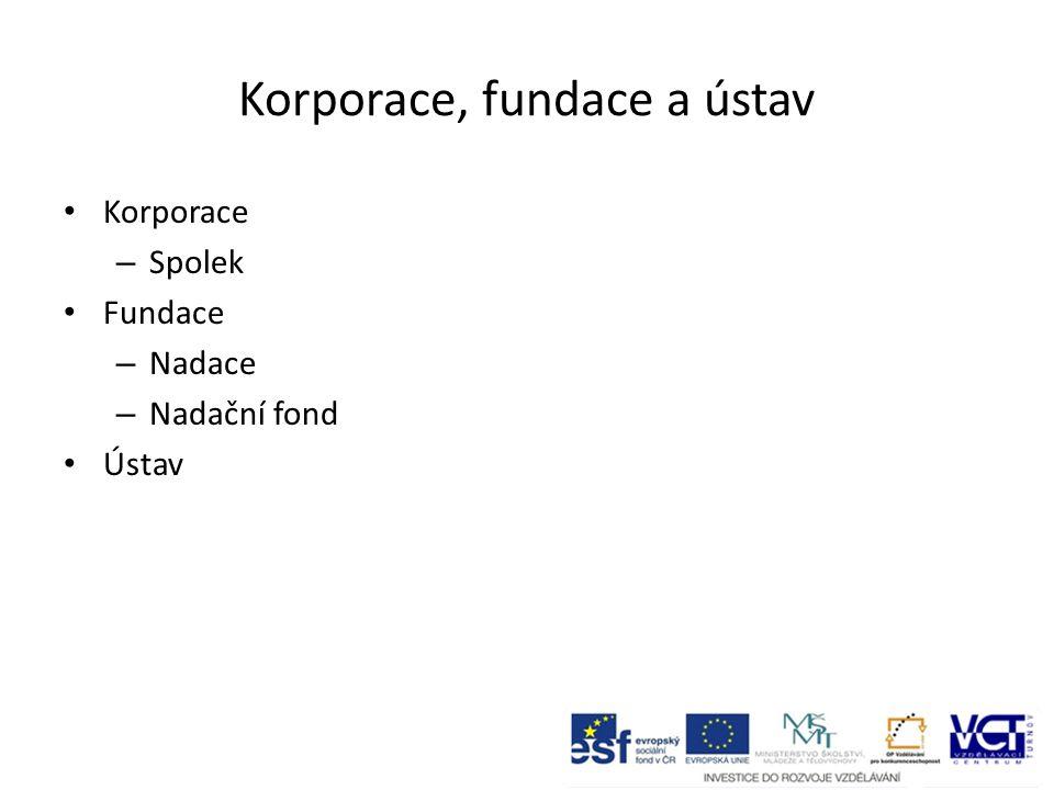 Korporace, fundace a ústav Korporace – Spolek Fundace – Nadace – Nadační fond Ústav