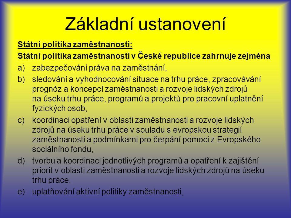Základní ustanovení Státní politika zaměstnanosti: Státní politika zaměstnanosti v České republice zahrnuje zejména a)zabezpečování práva na zaměstnání, b)sledování a vyhodnocování situace na trhu práce, zpracovávání prognóz a koncepcí zaměstnanosti a rozvoje lidských zdrojů na úseku trhu práce, programů a projektů pro pracovní uplatnění fyzických osob, c)koordinaci opatření v oblasti zaměstnanosti a rozvoje lidských zdrojů na úseku trhu práce v souladu s evropskou strategií zaměstnanosti a podmínkami pro čerpání pomoci z Evropského sociálního fondu, d)tvorbu a koordinaci jednotlivých programů a opatření k zajištění priorit v oblasti zaměstnanosti a rozvoje lidských zdrojů na úseku trhu práce, e)uplatňování aktivní politiky zaměstnanosti,