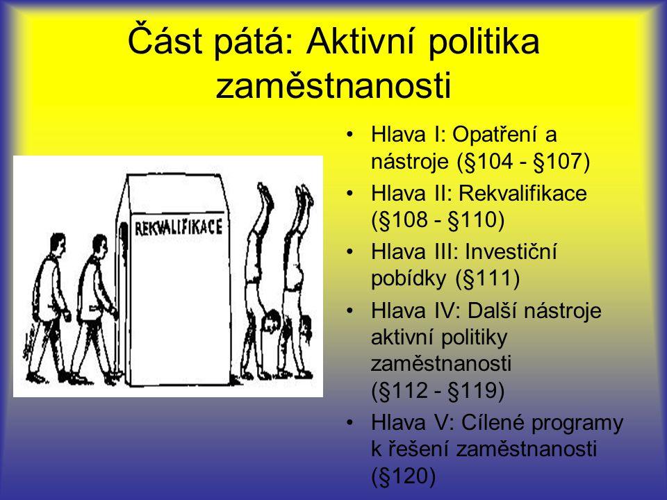 Část pátá: Aktivní politika zaměstnanosti Hlava I: Opatření a nástroje (§104 - §107) Hlava II: Rekvalifikace (§108 - §110) Hlava III: Investiční pobídky (§111) Hlava IV: Další nástroje aktivní politiky zaměstnanosti (§112 - §119) Hlava V: Cílené programy k řešení zaměstnanosti (§120)