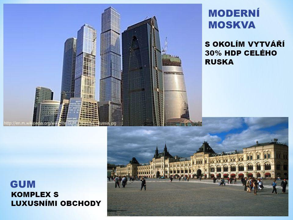 MODERNÍ MOSKVA S OKOLÍM VYTVÁŘÍ 30% HDP CELÉHO RUSKA GUM KOMPLEX S LUXUSNÍMI OBCHODY