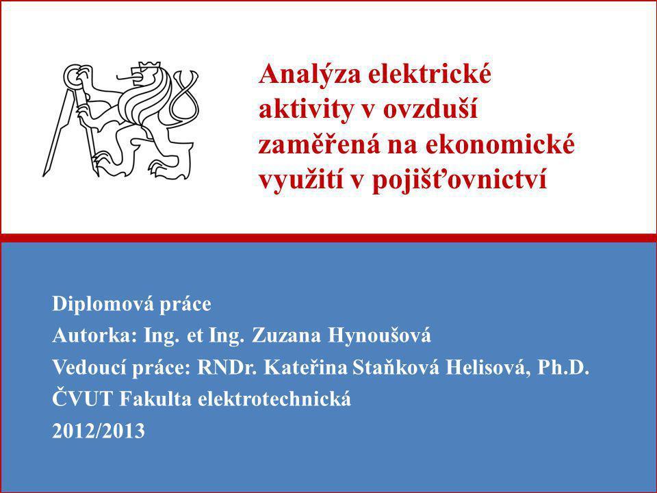 Analýza elektrické aktivity v ovzduší zaměřená na ekonomické využití v pojišťovnictví Diplomová práce Autorka: Ing.