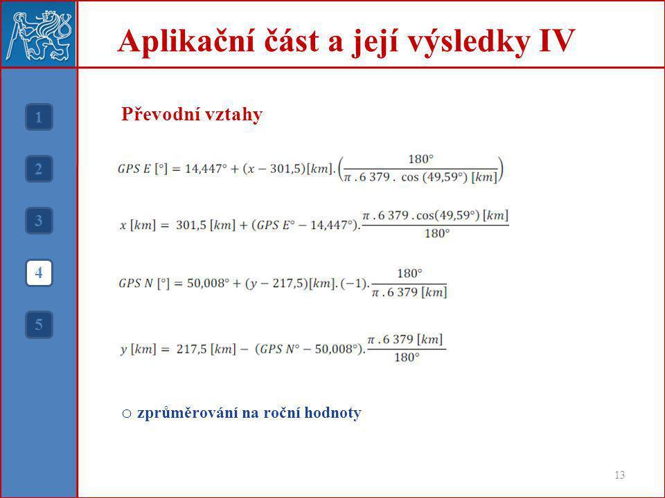 Převodní vztahy o zprůměrování na roční hodnoty Aplikační část a její výsledky IV 13 1 2 3 4 5