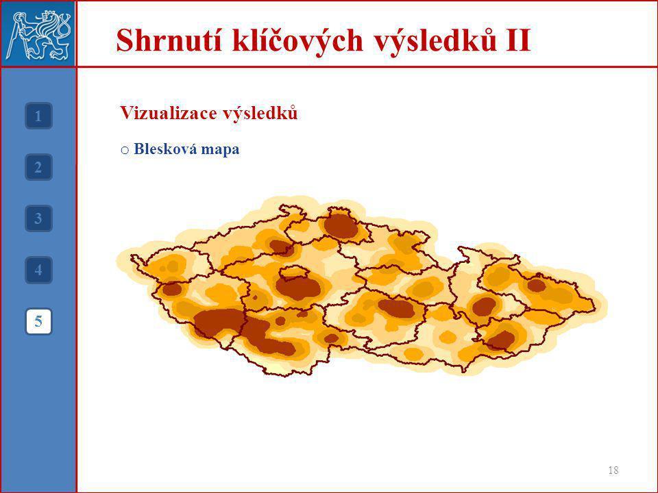 Shrnutí klíčových výsledků II 18 1 2 3 4 5 Vizualizace výsledků o Blesková mapa