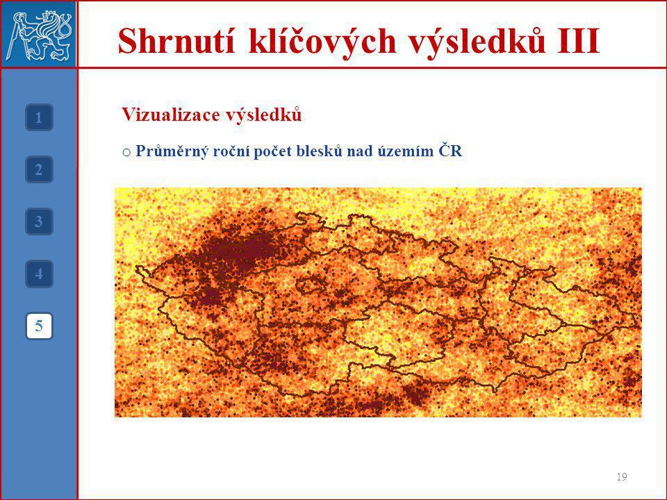 Shrnutí klíčových výsledků III 19 1 2 3 4 5 Vizualizace výsledků o Průměrný roční počet blesků nad územím ČR
