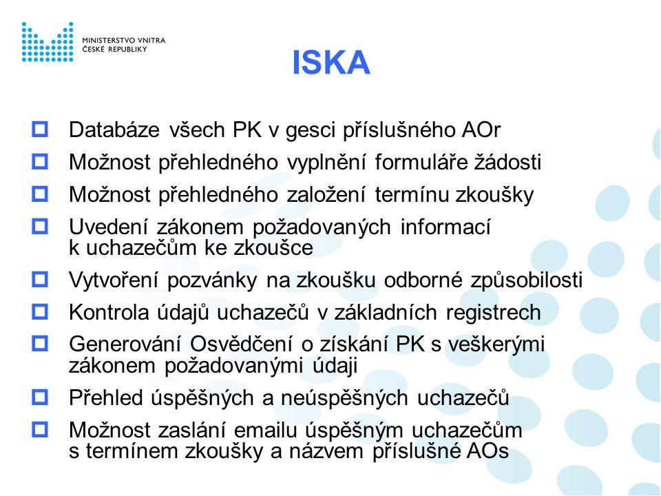 ISKA  Databáze všech PK v gesci příslušného AOr  Možnost přehledného vyplnění formuláře žádosti  Možnost přehledného založení termínu zkoušky  Uve