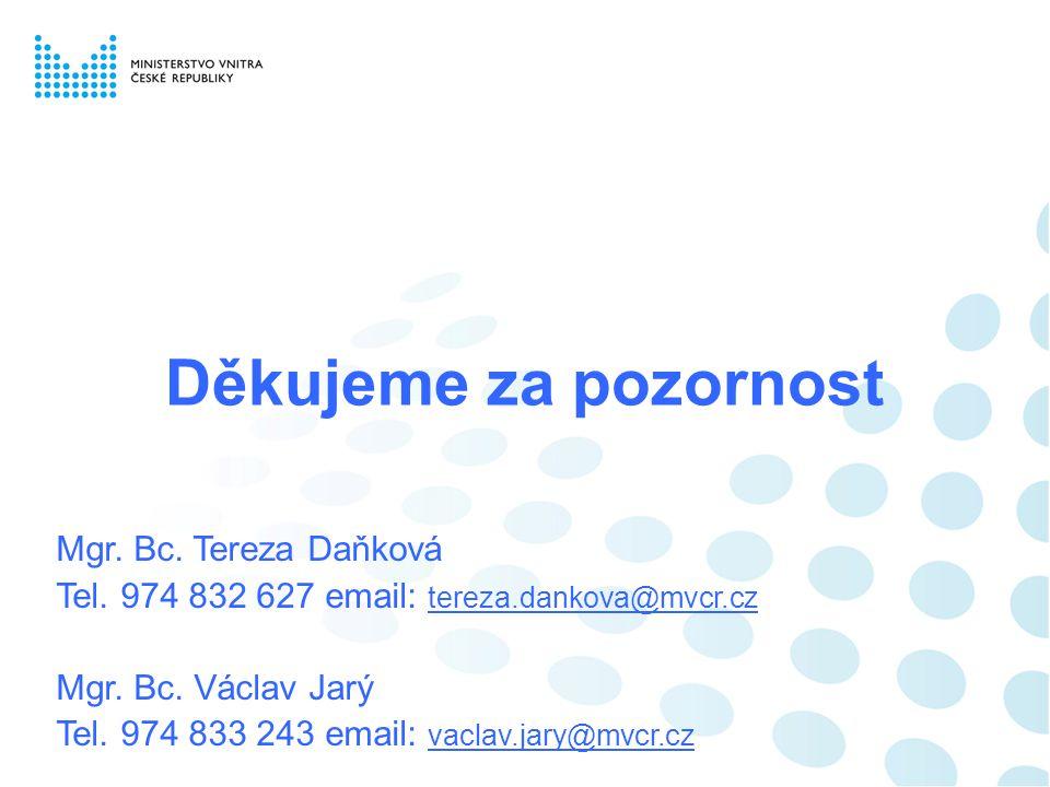 Děkujeme za pozornost Mgr. Bc. Tereza Daňková Tel. 974 832 627 email: tereza.dankova@mvcr.cz Mgr. Bc. Václav Jarý Tel. 974 833 243 email: vaclav.jary@