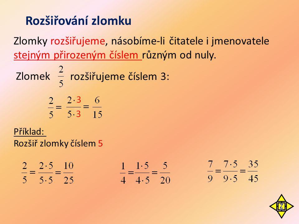 Zlomky rozšiřujeme, násobíme-li čitatele i jmenovatele stejným přirozeným číslem různým od nuly. Rozšiřování zlomku Zlomek rozšiřujeme číslem 3: Příkl