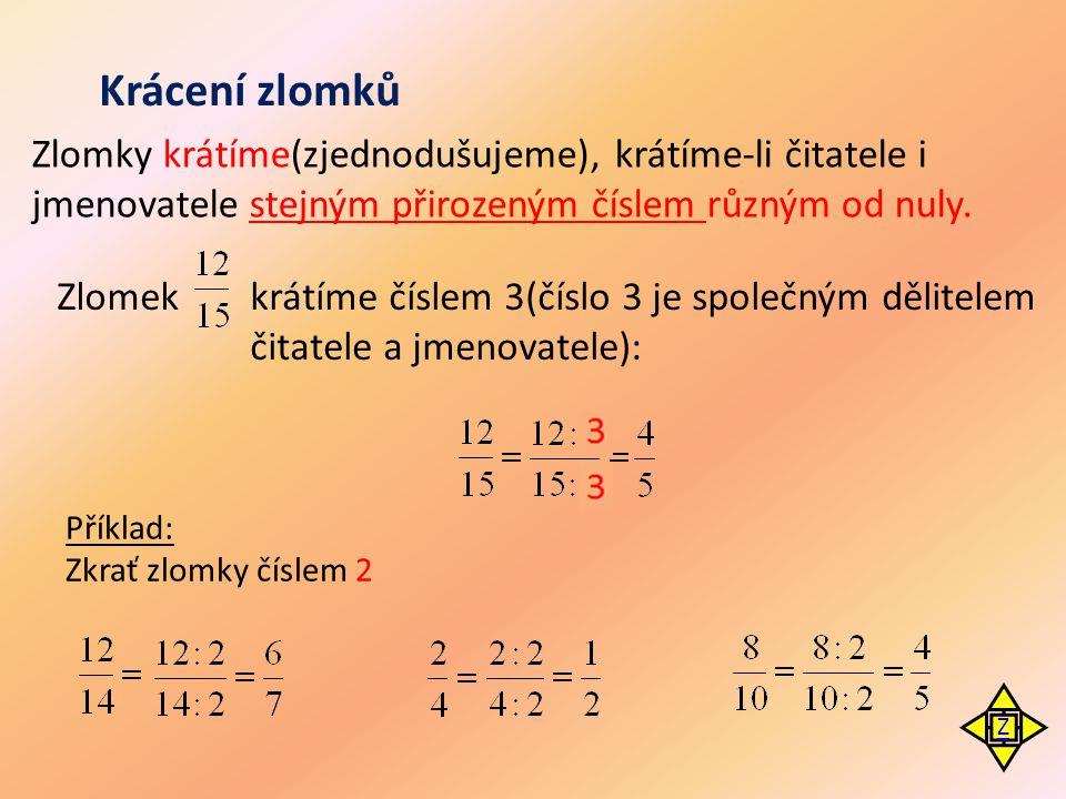 Krácení zlomků Zlomky krátíme(zjednodušujeme), krátíme-li čitatele i jmenovatele stejným přirozeným číslem různým od nuly. Zlomekkrátíme číslem 3(čísl