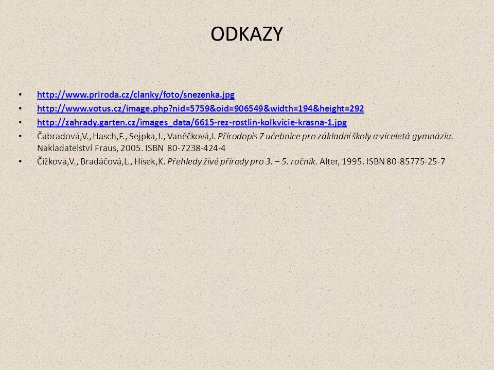 ODKAZY http://www.priroda.cz/clanky/foto/snezenka.jpg http://www.votus.cz/image.php?nid=5759&oid=906549&width=194&height=292 http://zahrady.garten.cz/