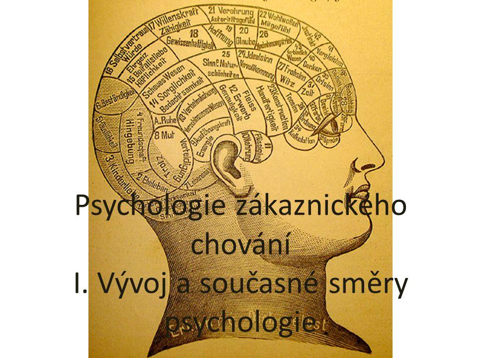 Psychologie zákaznického chování I. Vývoj a současné směry psychologie