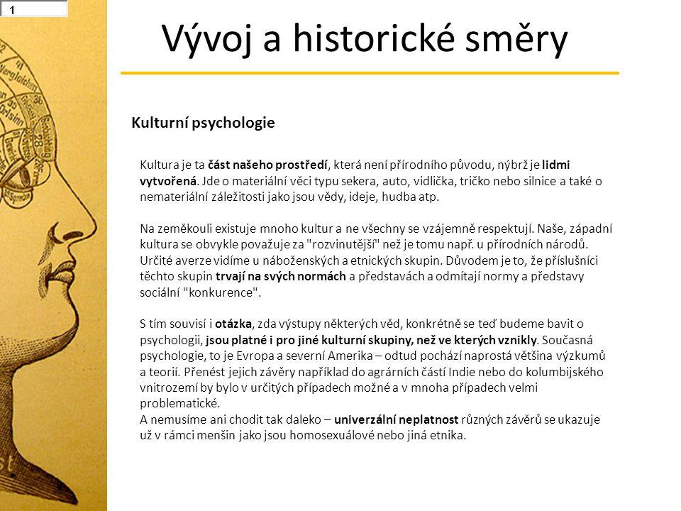 Vývoj a historické směry Kulturní psychologie Kultura je ta část našeho prostředí, která není přírodního původu, nýbrž je lidmi vytvořená. Jde o mater