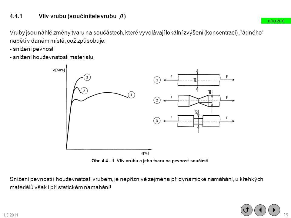 """4.4.1Vliv vrubu (součinitele vrubu  ) Vruby jsou náhlé změny tvaru na součástech, které vyvolávají lokální zvýšení (koncentraci) """"řádného"""" napětí v d"""