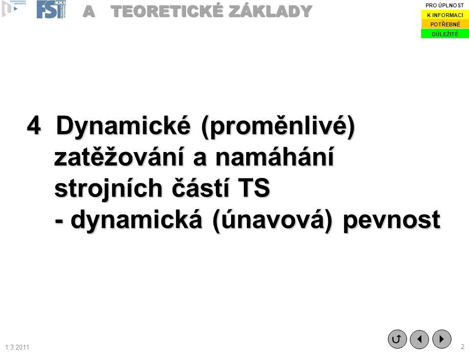4 Dynamické (proměnlivé) zatěžování a namáhání strojních částí TS - dynamická (únavová) pevnost A TEORETICKÉ ZÁKLADY   2  DŮLEŽITÉ POTŘEBNÉ K INFOR