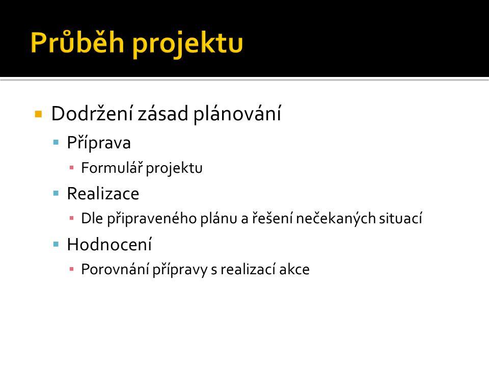  Dodržení zásad plánování  Příprava ▪ Formulář projektu  Realizace ▪ Dle připraveného plánu a řešení nečekaných situací  Hodnocení ▪ Porovnání pří