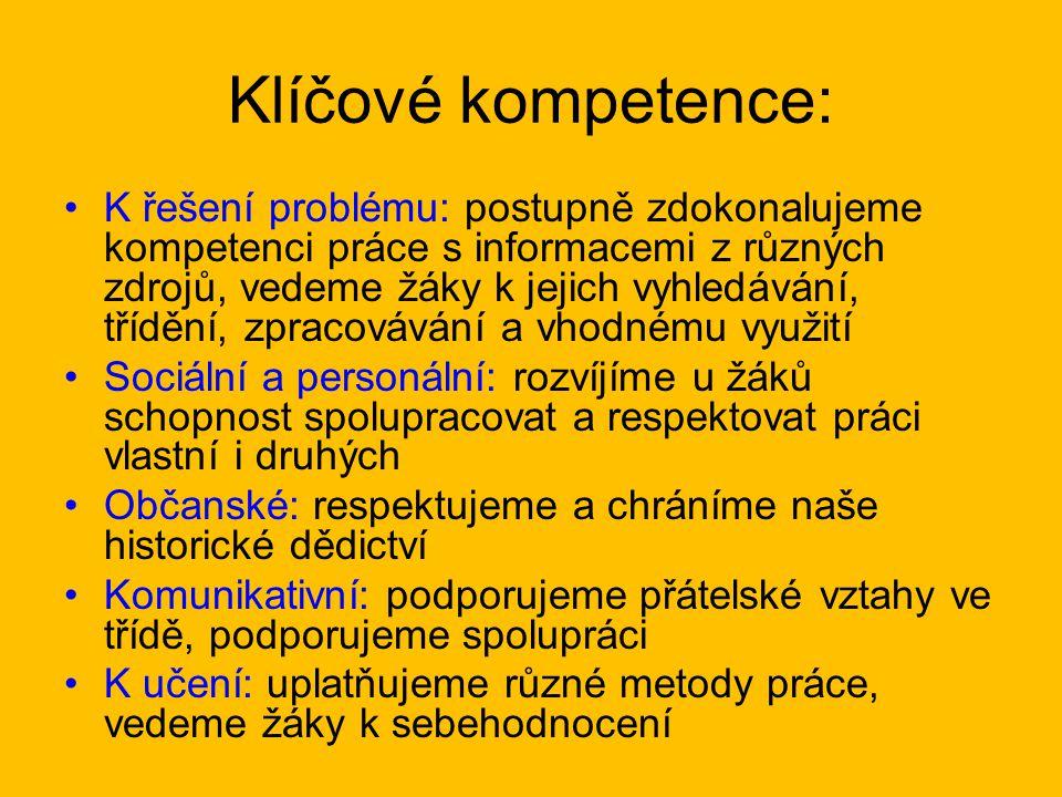 Klíčové kompetence: K řešení problému: postupně zdokonalujeme kompetenci práce s informacemi z různých zdrojů, vedeme žáky k jejich vyhledávání, třídě