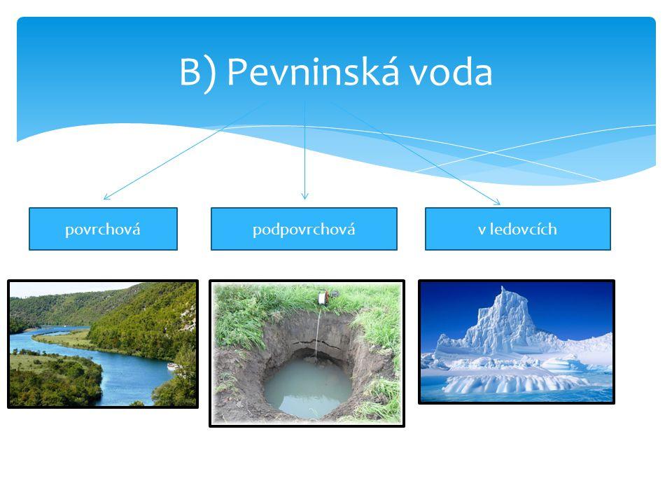 B) Pevninská voda povrchovápodpovrchováv ledovcích