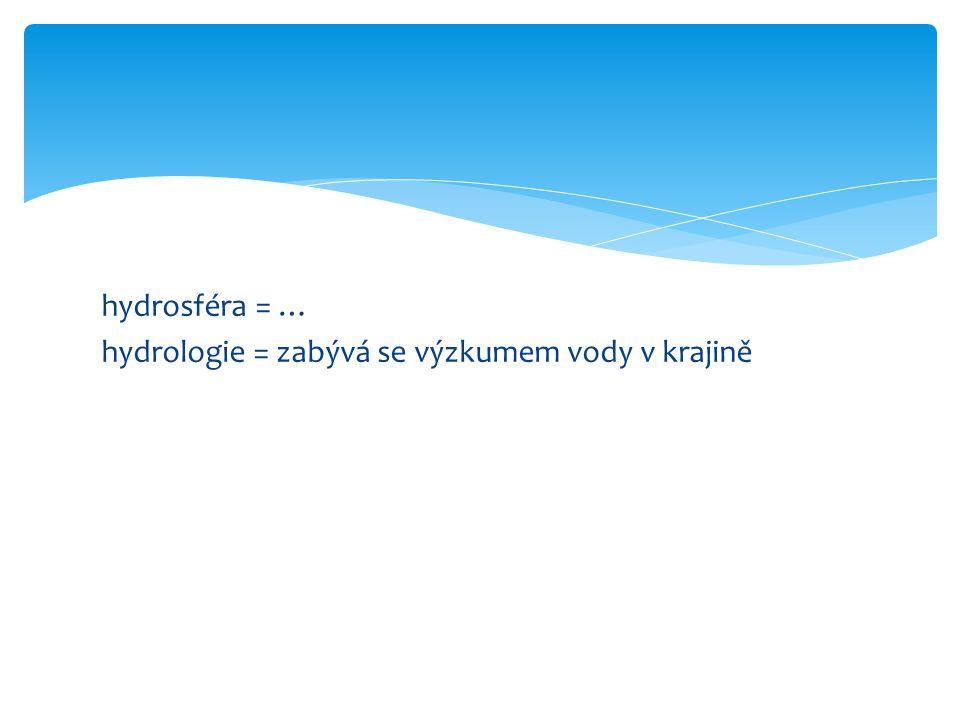 hydrosféra = … hydrologie = zabývá se výzkumem vody v krajině