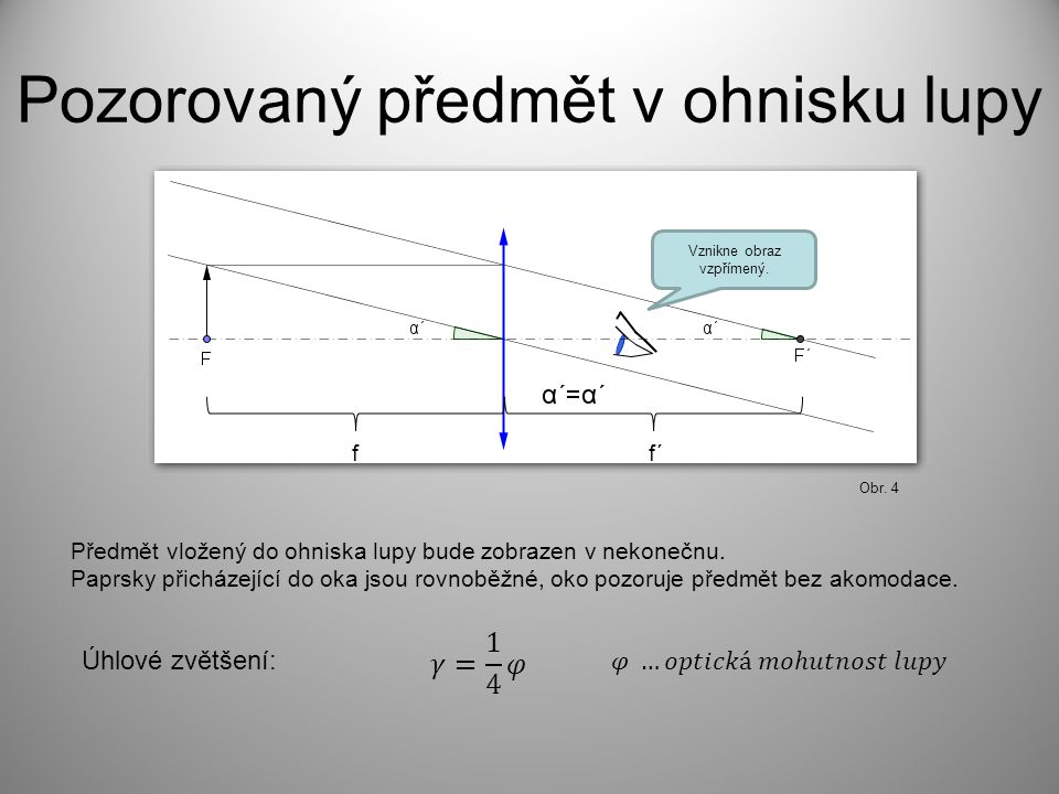 f f´ Výpočet úhlového zvětšení y Obr. 5 Obr. 6