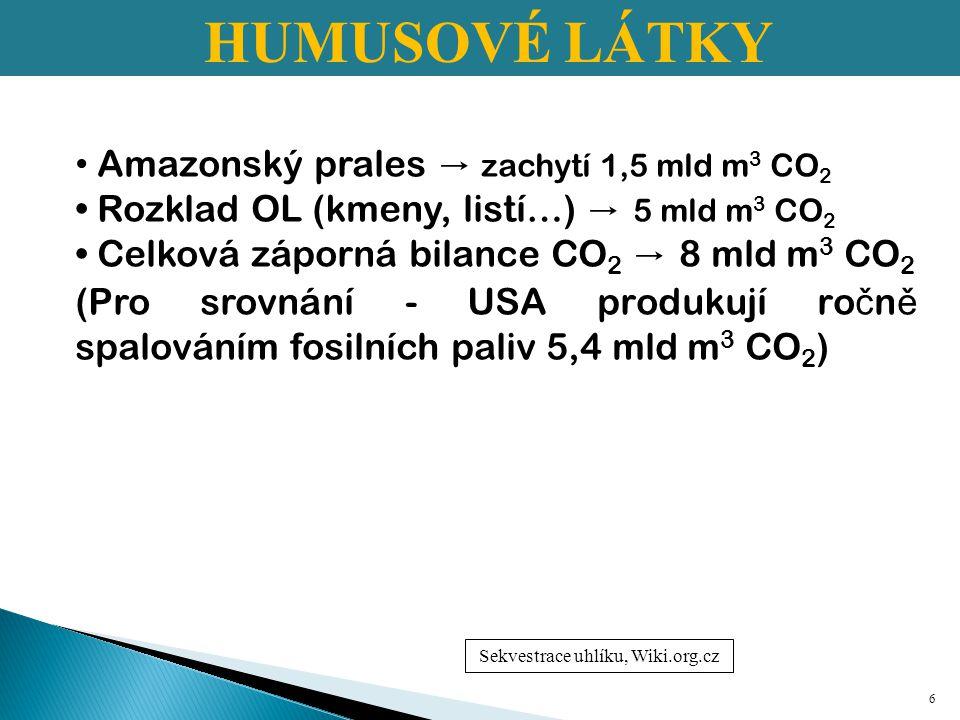 UHLÍK V PŮDĚ 1.Volný uhlík 2.Stabilní uhlík 3.Labilní uhlík 7