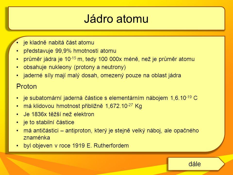 je kladně nabitá část atomu představuje 99,9% hmotnosti atomu průměr jádra je 10 -15 m, tedy 100 000x méně, než je průměr atomu obsahuje nukleony (pro