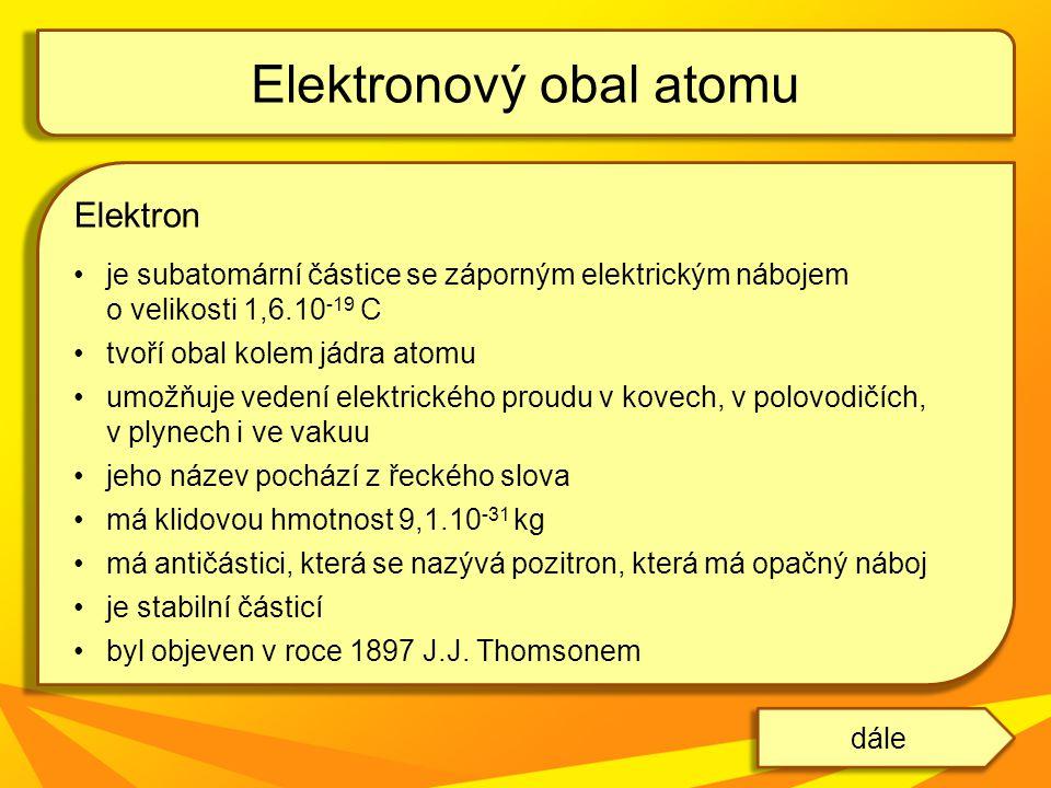 Elektron je subatomární částice se záporným elektrickým nábojem o velikosti 1,6.10 -19 C tvoří obal kolem jádra atomu umožňuje vedení elektrického pro