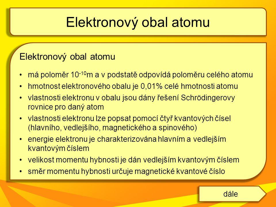 Elektronový obal atomu má poloměr 10 -10 m a v podstatě odpovídá poloměru celého atomu hmotnost elektronového obalu je 0,01% celé hmotnosti atomu vlas