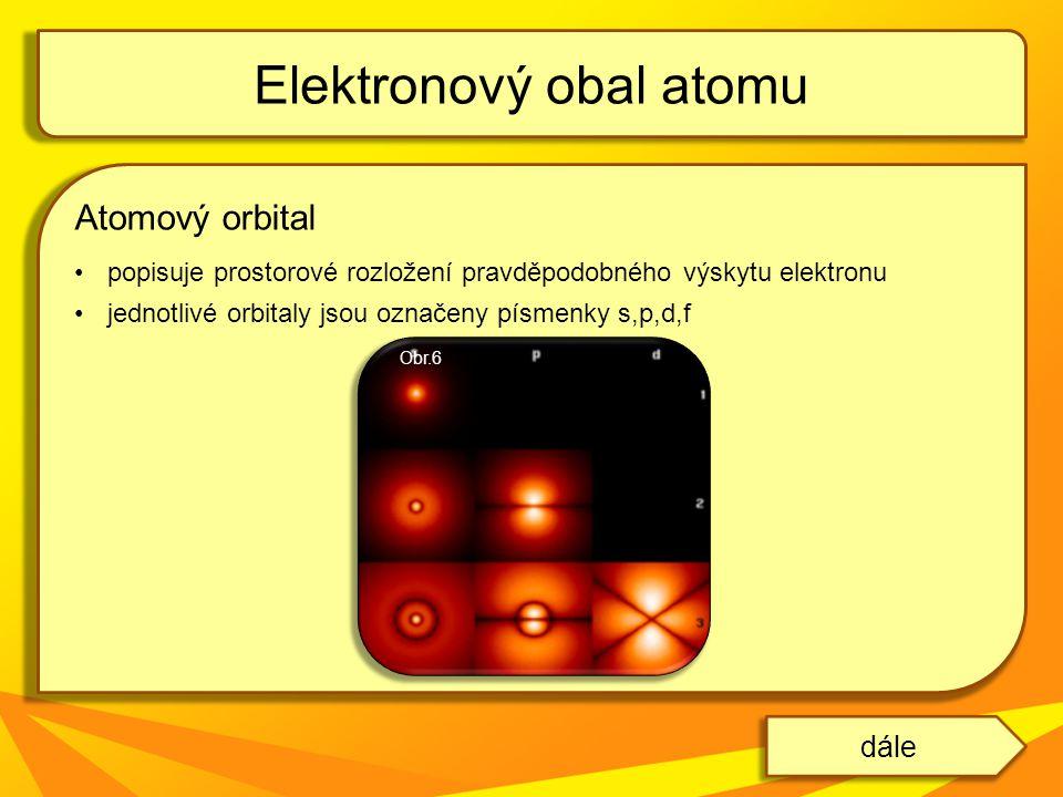 Atomový orbital popisuje prostorové rozložení pravděpodobného výskytu elektronu jednotlivé orbitaly jsou označeny písmenky s,p,d,f Elektronový obal at