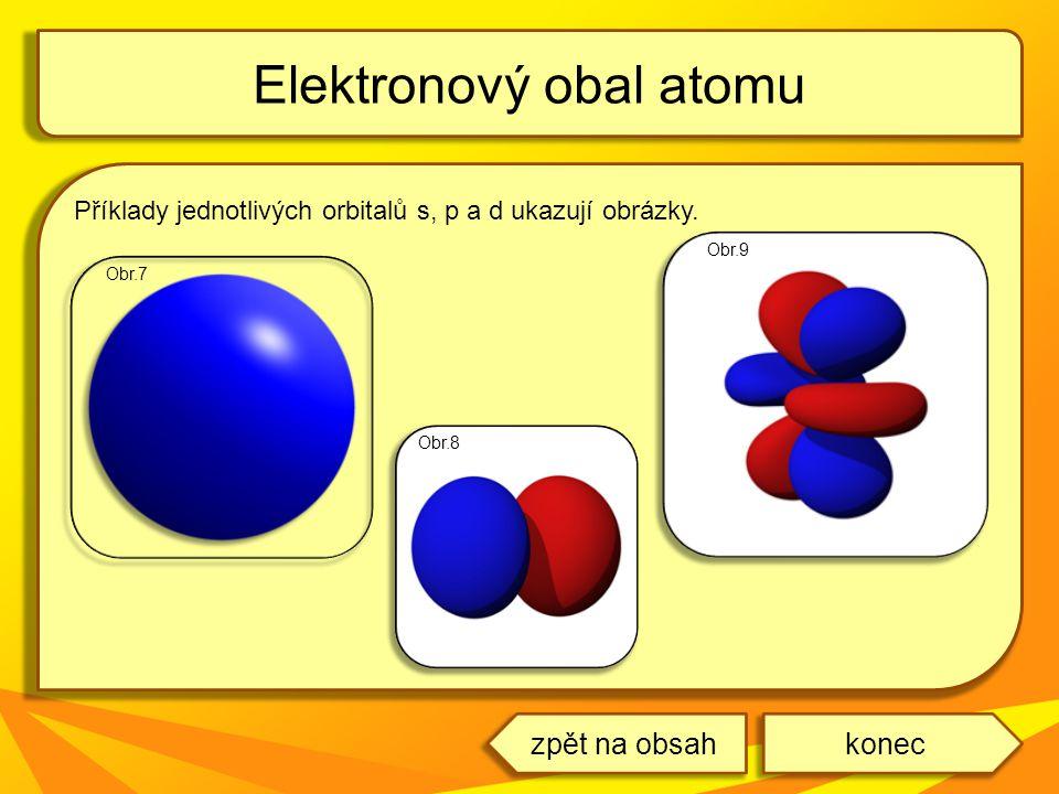 Příklady jednotlivých orbitalů s, p a d ukazují obrázky. Elektronový obal atomu koneczpět na obsah Obr.9 Obr.8 Obr.7