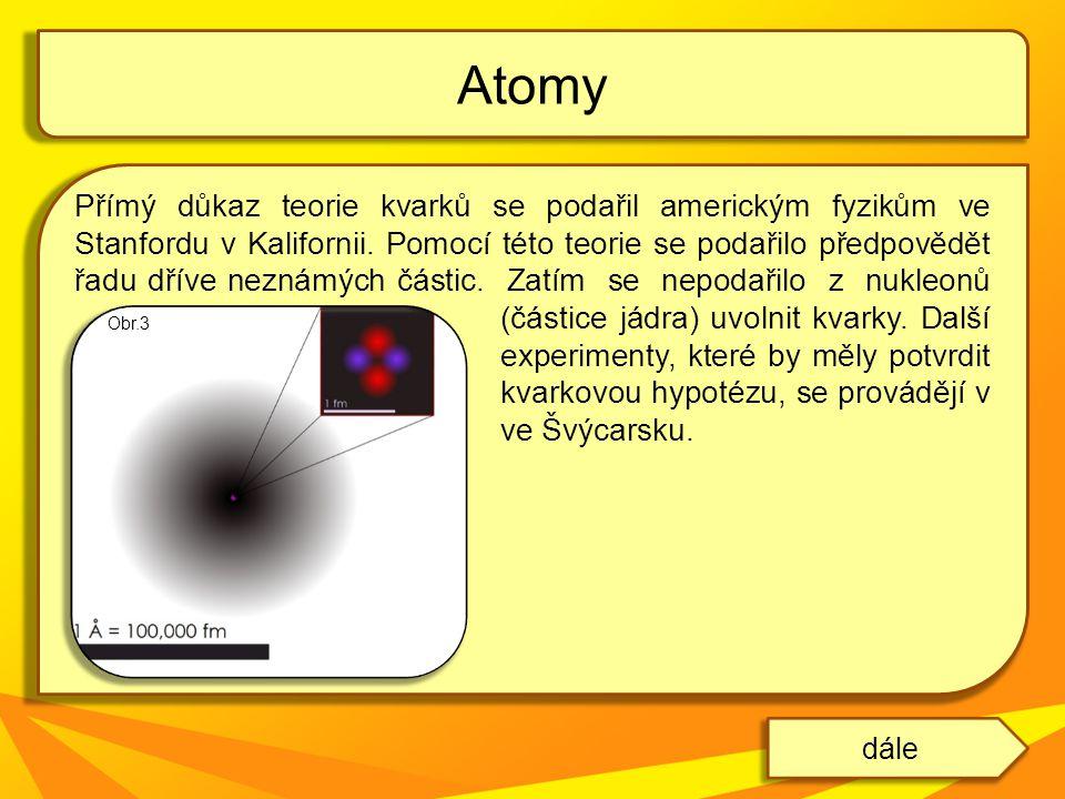 Přímý důkaz teorie kvarků se podařil americkým fyzikům ve Stanfordu v Kalifornii. Pomocí této teorie se podařilo předpovědět řadu dříve neznámých část