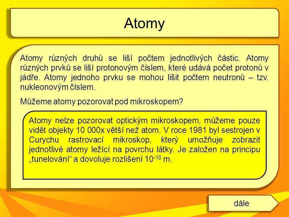 Atomy různých druhů se liší počtem jednotlivých částic. Atomy různých prvků se liší protonovým číslem, které udává počet protonů v jádře. Atomy jednoh