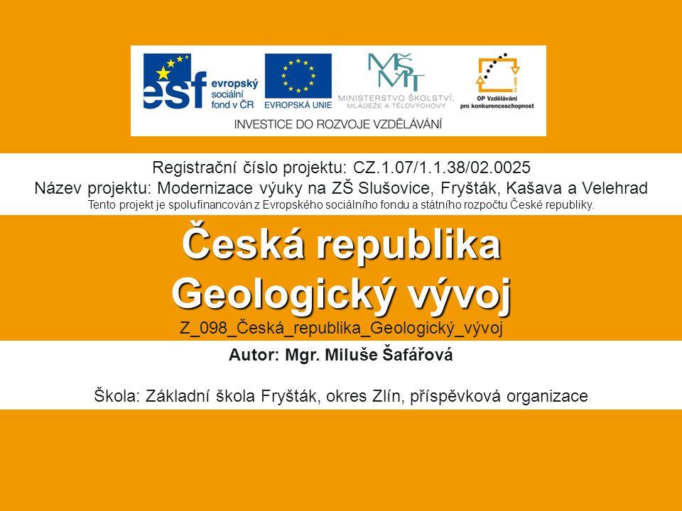 Anotace:  Digitální učební materiál je určen pro seznámení žáků s geologickým vývojem České republiky  Materiál rozvíjí nové znalosti a procvičuje vědomosti z nižších ročníků.