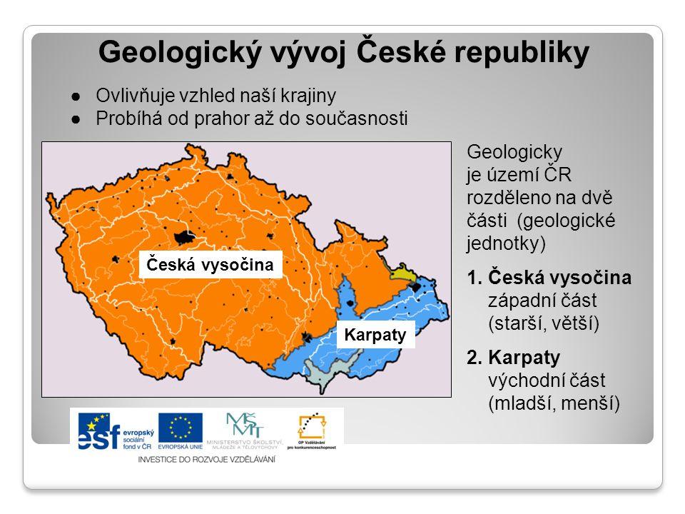 Geologický vývoj České republiky ●Ovlivňuje vzhled naší krajiny ●Probíhá od prahor až do současnosti Geologicky je území ČR rozděleno na dvě části (ge