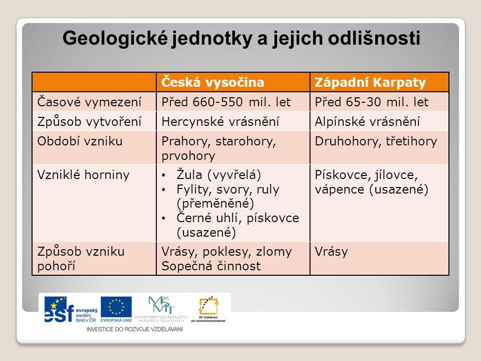 Geologické jednotky a jejich odlišnosti Česká vysočinaZápadní Karpaty Časové vymezeníPřed 660-550 mil. letPřed 65-30 mil. let Způsob vytvořeníHercynsk