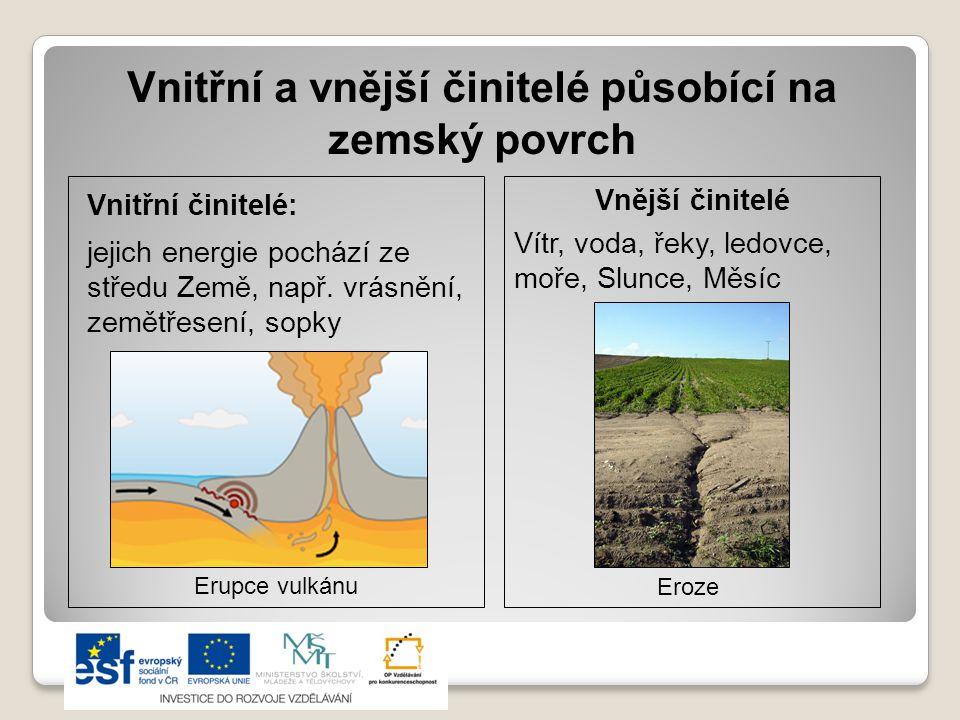 Vnitřní a vnější činitelé působící na zemský povrch Vnitřní činitelé: jejich energie pochází ze středu Země, např. vrásnění, zemětřesení, sopky Vnější