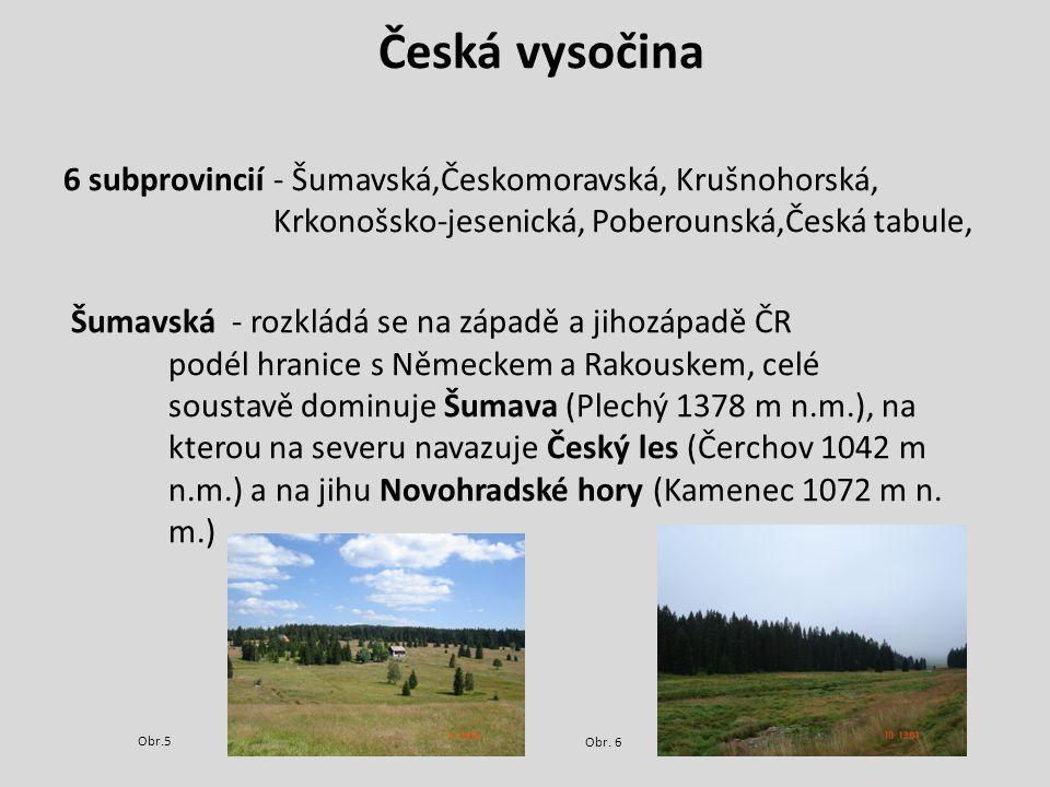 Česko-moravská - rozlohou největší, rozkládá se ve středních a jižních Čechách, přes česko-moravské pomezí zasahuje až na jih Moravy.