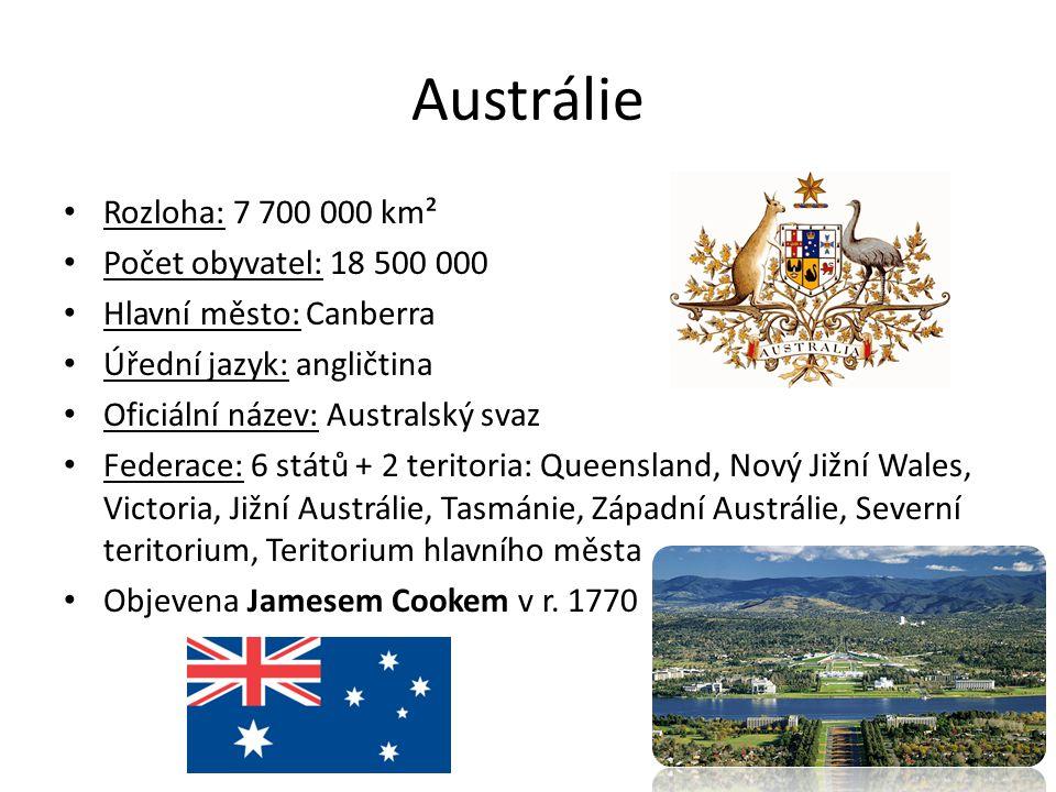 Austrálie – pobřeží a ostrovy Málo členité pobřeží Moře a oceány: Indický oceán, Tichý oceán, Korálové moře, Tasmanovo moře.