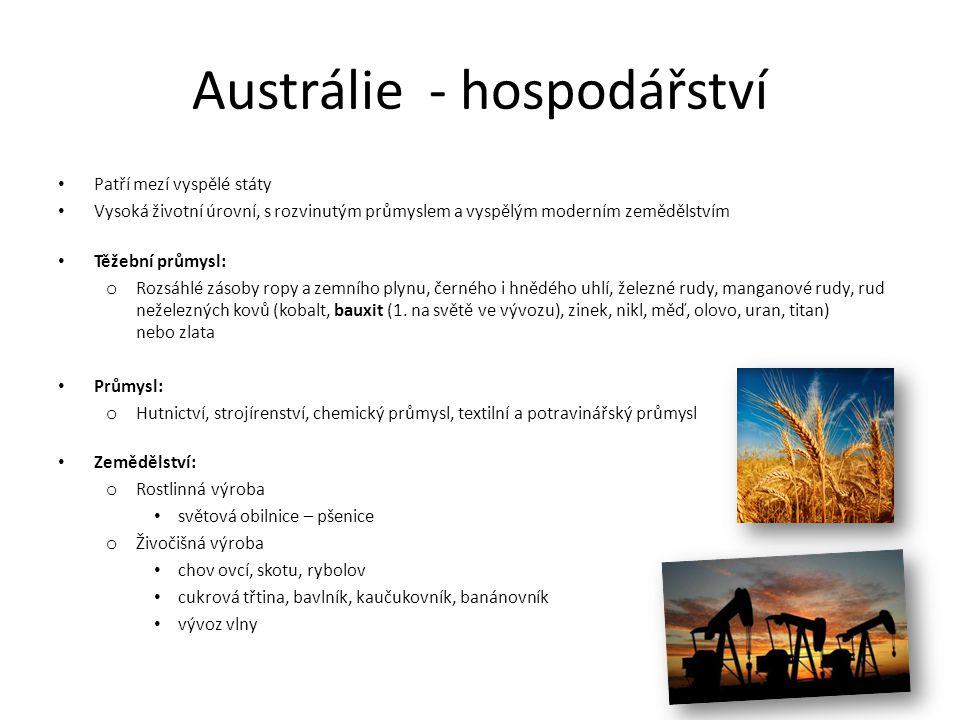Austrálie - podnebí Většina území v tropickém podnebném pásu Severovýchodní část - tropické deštné lesy či střídavě vlhké lesy Východní, jihovýchodní a jihozápadní pobřeží - subtropický podnebný pás - blahovičníky (eukalypty) Střední část Austrálie - suché klima - pouště Nejjižnější část a ostrov Tasmánie spadají do mírného podnebného pásu