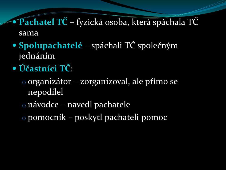 Pachatel TČ – fyzická osoba, která spáchala TČ sama Spolupachatelé – spáchali TČ společným jednáním Účastníci TČ: o organizátor – zorganizoval, ale př