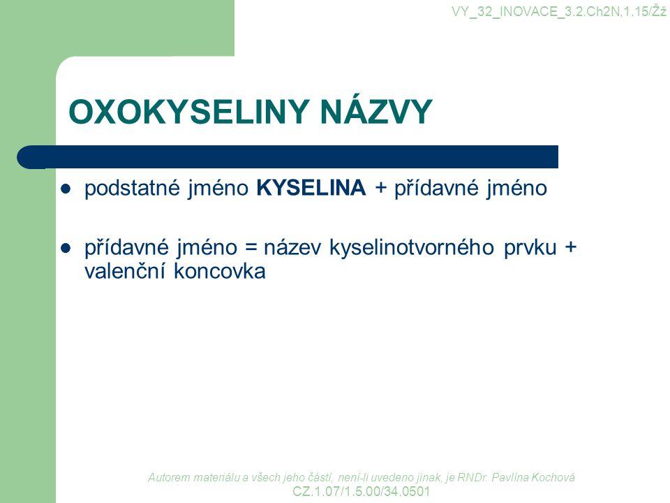 OXOKYSELINY NÁZVY podstatné jméno KYSELINA + přídavné jméno přídavné jméno = název kyselinotvorného prvku + valenční koncovka VY_32_INOVACE_3.2.Ch2N,1