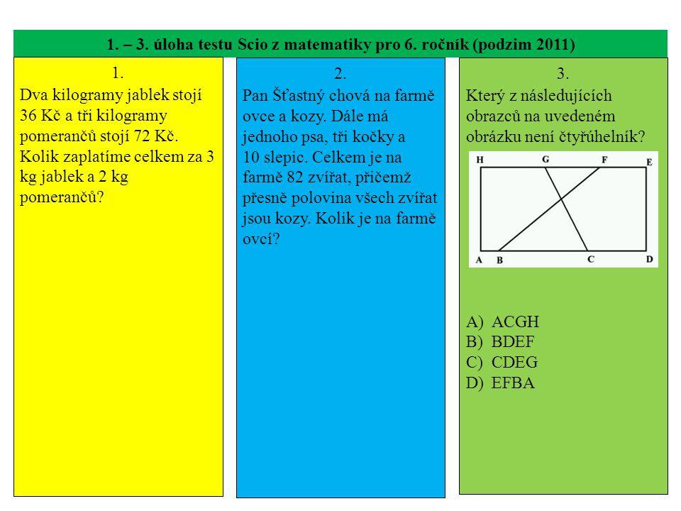 1.– 3. úloha testu Scio z matematiky pro 6. ročník (podzim 2011) 1.