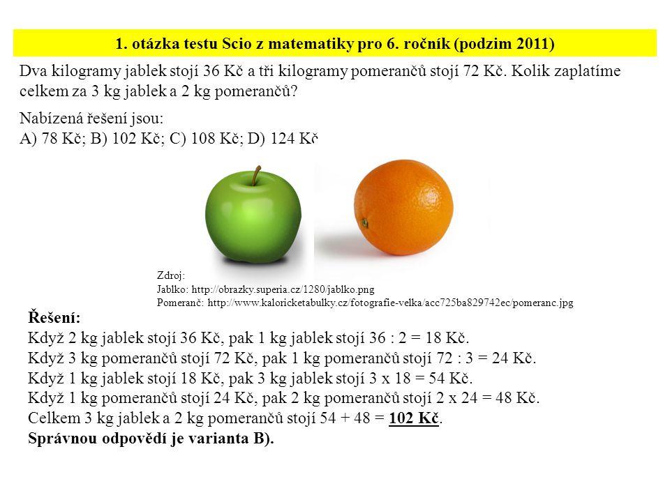 Dva kilogramy jablek stojí 36 Kč a tři kilogramy pomerančů stojí 72 Kč.