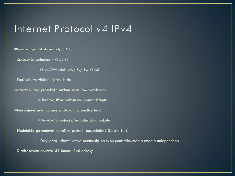 =Součástí protokolové sady TCP/IP =Zpracován zejména v RFC 791 =http://www.ietf.org/rfc/rfc791.txt =Používán ve většině lokálních sítí =Navržen jako p