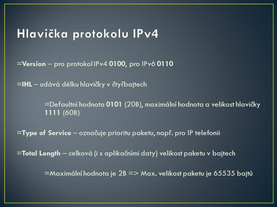 =Version – pro protokol IPv4 0100, pro IPv6 0110 =IHL – udává délku hlavičky v čtyřbajtech =Defaultní hodnota 0101 (20B), maximální hodnota a velikost