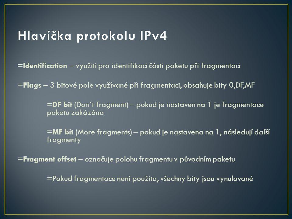 =Identification – využití pro identifikaci části paketu při fragmentaci =Flags – 3 bitové pole využívané při fragmentaci, obsahuje bity 0,DF,MF =DF bi