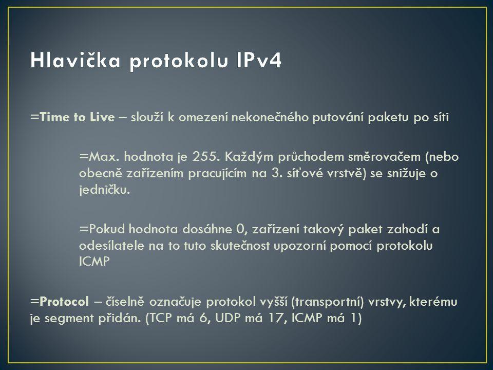 =Time to Live – slouží k omezení nekonečného putování paketu po síti =Max. hodnota je 255. Každým průchodem směrovačem (nebo obecně zařízením pracujíc
